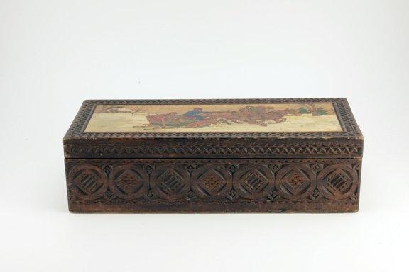 Large Russian kustar or folk art table box, circa 1900 - 2
