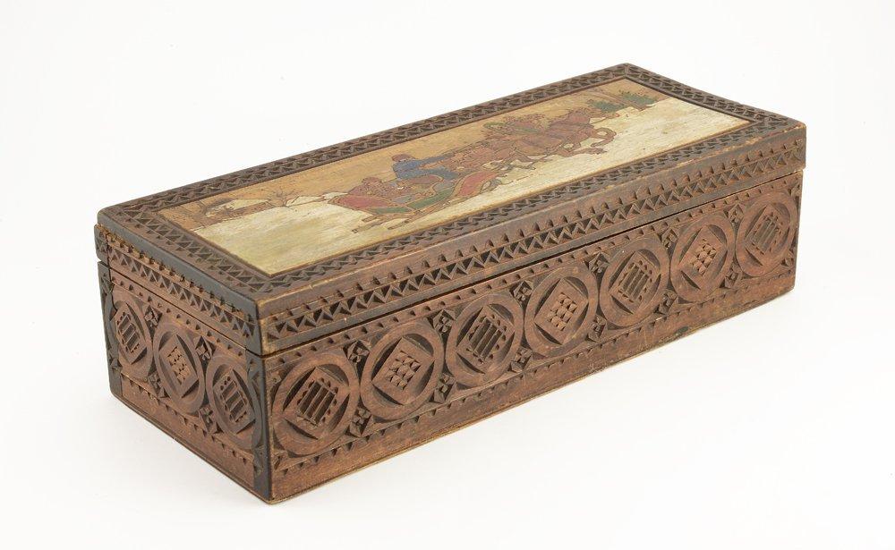 Large Russian kustar or folk art table box, circa 1900 - 3
