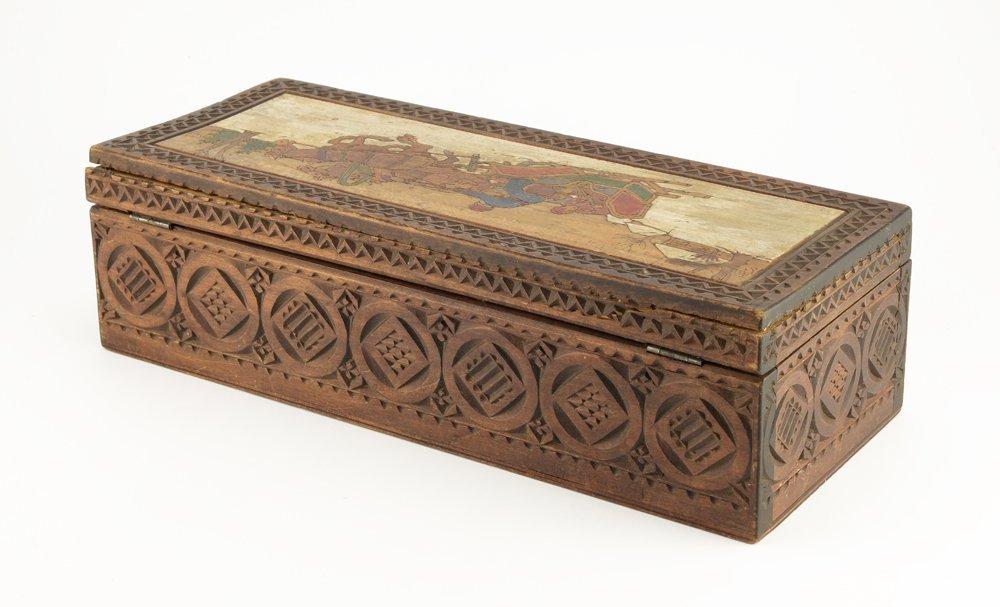 Large Russian kustar or folk art table box, circa 1900 - 4