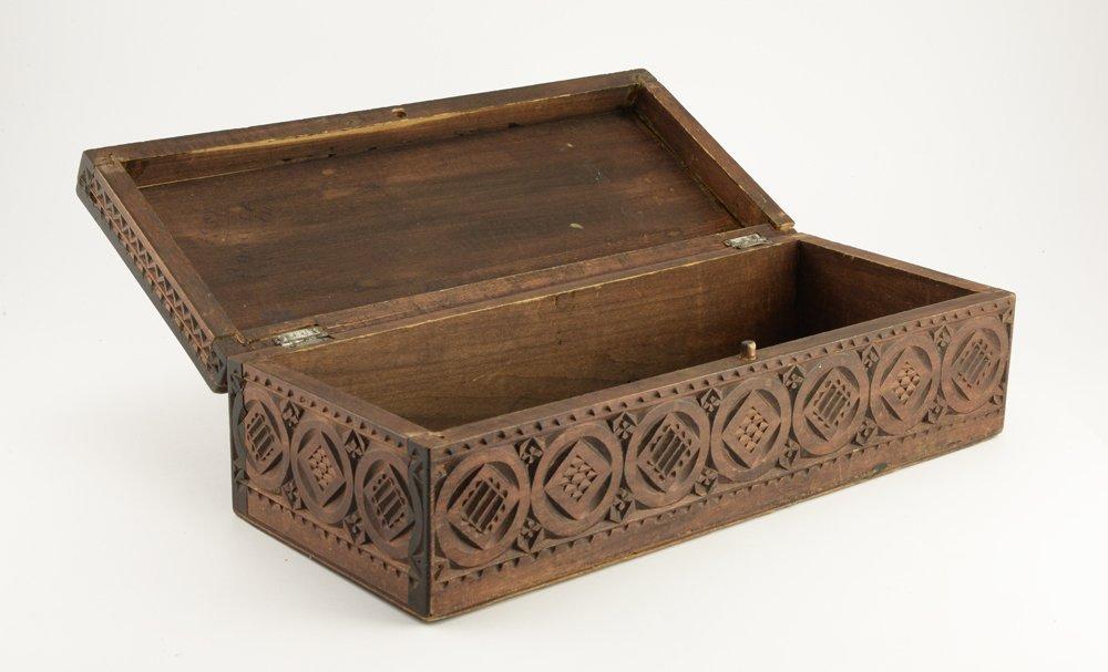 Large Russian kustar or folk art table box, circa 1900 - 6