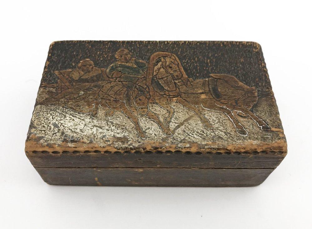 A Russian kustar or folk art stamp box, ca 1900
