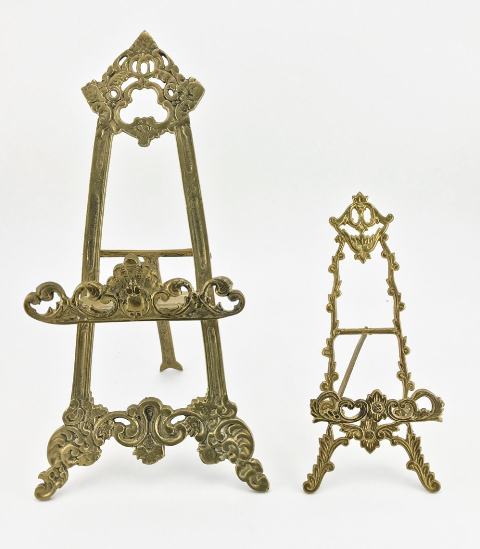 Two Continental gilt bronze easels