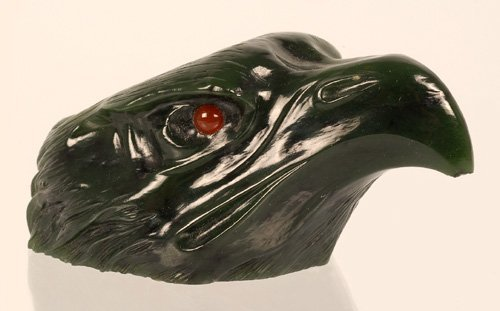 Continental carved nephrite eagle head match holder