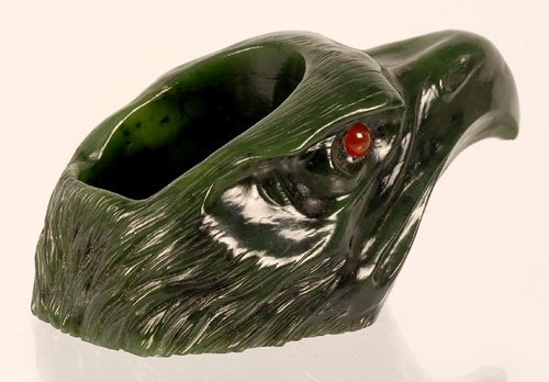 Continental carved nephrite eagle head match holder - 2