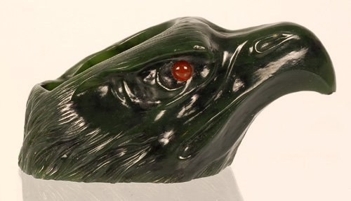 Continental carved nephrite eagle head match holder - 3