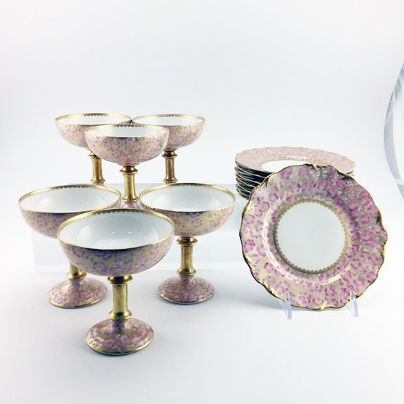 A Limoges porcelain ice cream set