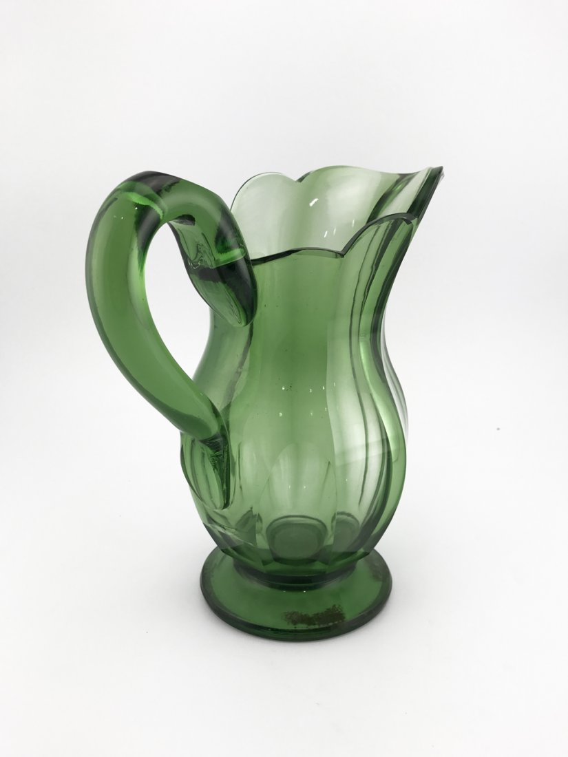 Green handblown cut glass pitcher, late 19th century - 3