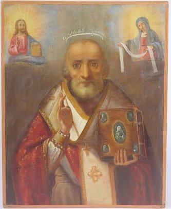 Saint Nicholas of Myra Ukrainian Orthodox Icon, 19th C