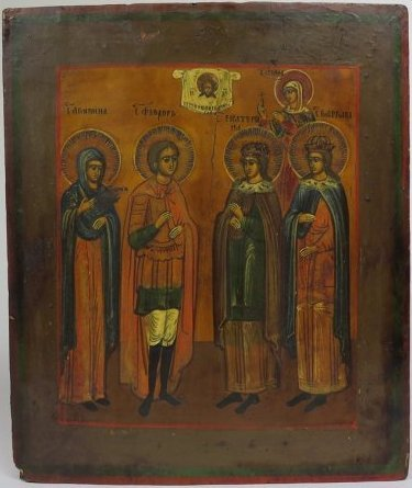 Russian Orthodox Icon of Five Selected Saints, 19th C