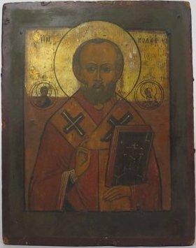 Saint Nicholas of Myra Russian Orthodox Icon, 19th Cent