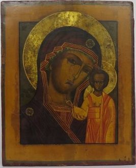 Virgin Mary Lady of Kazan Russian Icon, 19th Cent