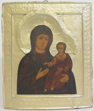 Our Lady of Iveron Tin Oklad Russian Icon, 19th Century
