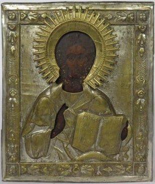 Christ Pantocrator Brass Oklad Russian Icon, 19th Cent