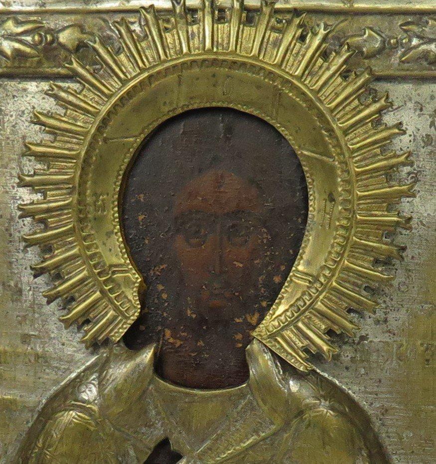 Christ Pantocrator Brass Oklad Russian Icon, 19th Cent - 2