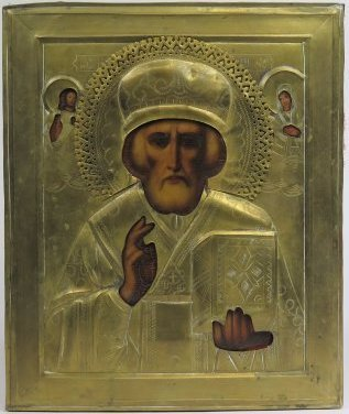 St Nicholas of Myra Oklad Russian Orthodox Icon, 19th C