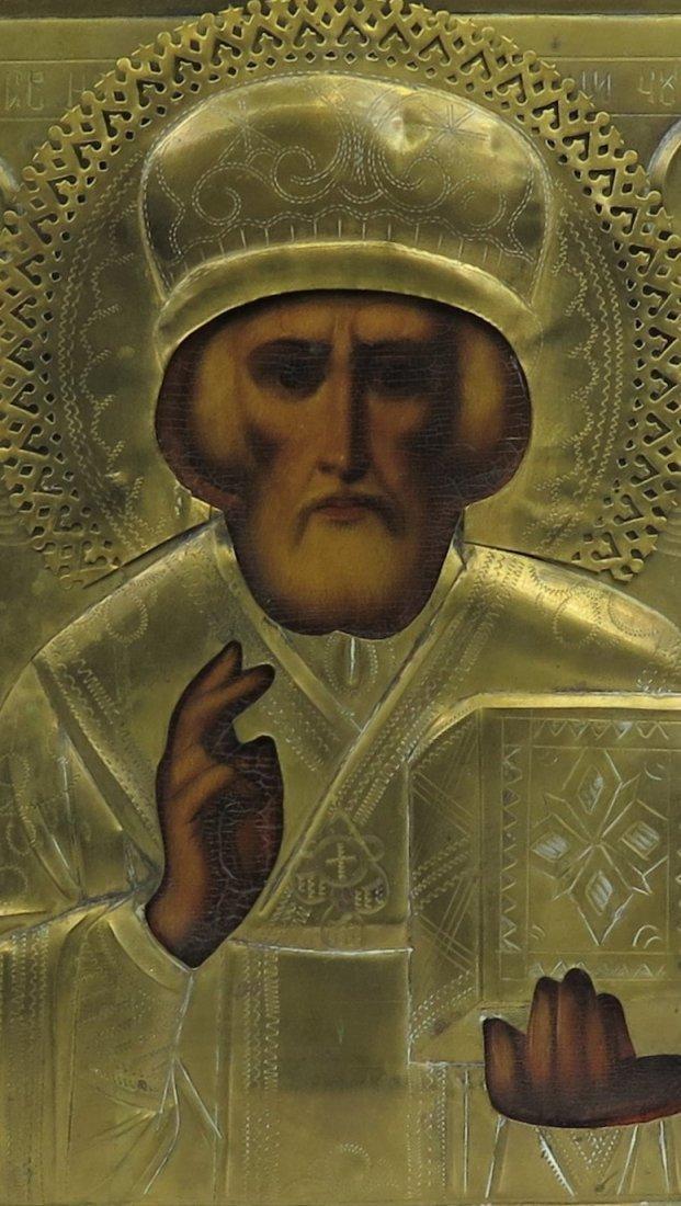 St Nicholas of Myra Oklad Russian Orthodox Icon, 19th C - 2