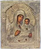 Virgin Mary of Tikhvin Brass Oklad Russian Icon 19th C