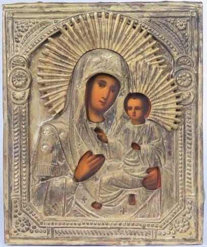 Virgin Mary of Tikhvin Brass Oklad Russian Icon, 19th C