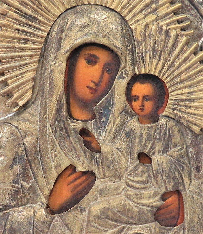 Virgin Mary of Tikhvin Brass Oklad Russian Icon, 19th C - 2