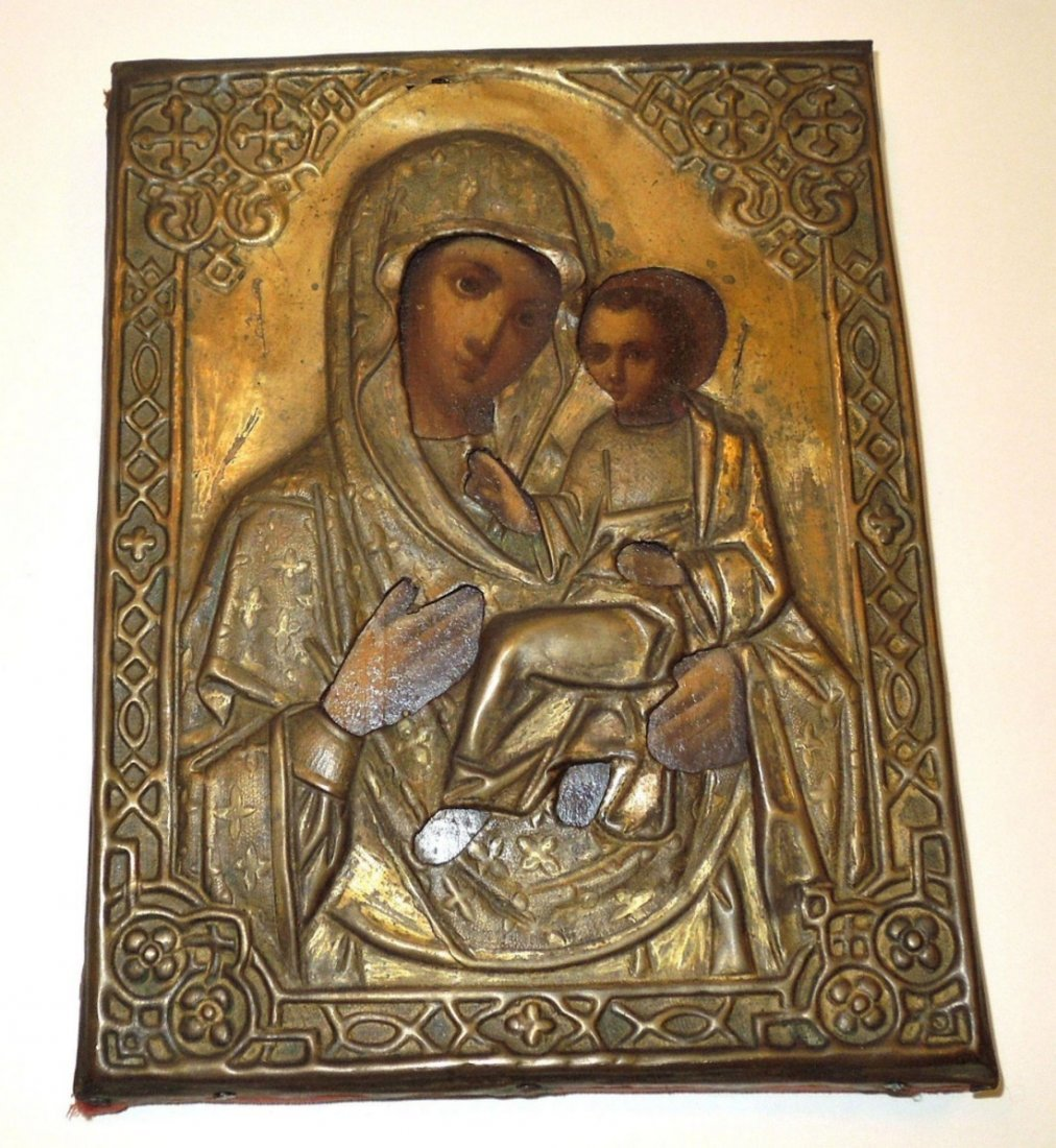Mother Mary & Child Jesus Russian Icon, 19th Century - 2