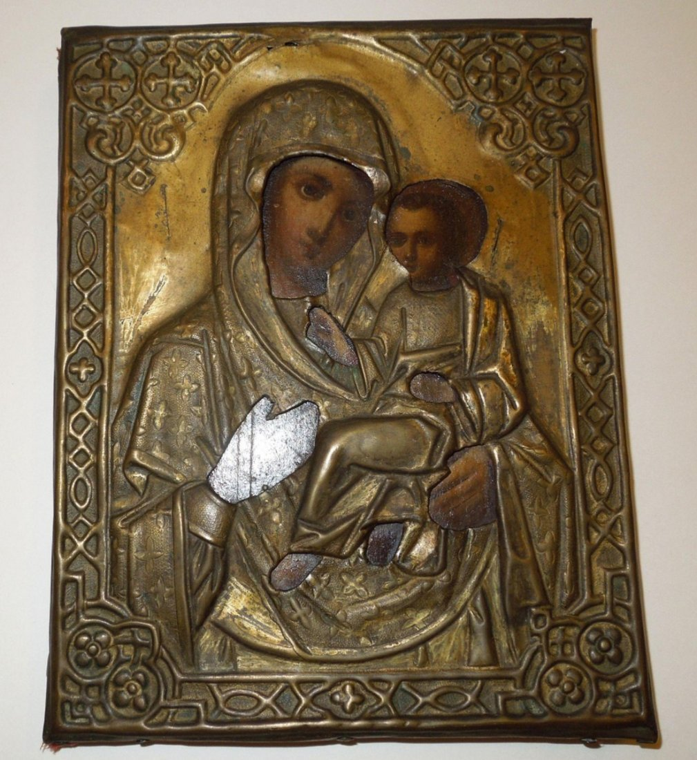Mother Mary & Child Jesus Russian Icon, 19th Century - 3