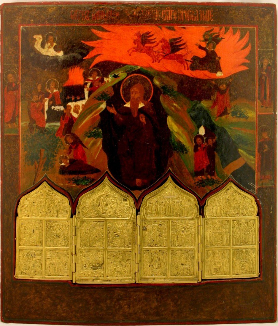 Ascension Elias with Quadriptych Russian Icon, 1800