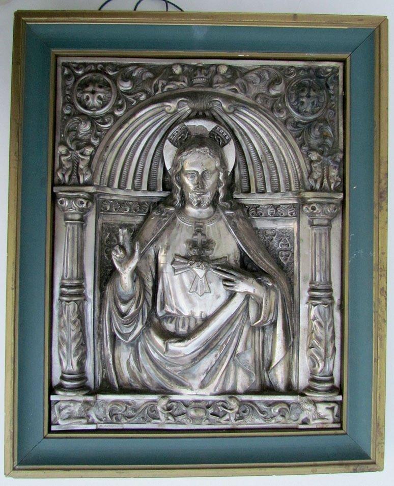 Antique Silver Plate Relief Plaque Icon of Jesus