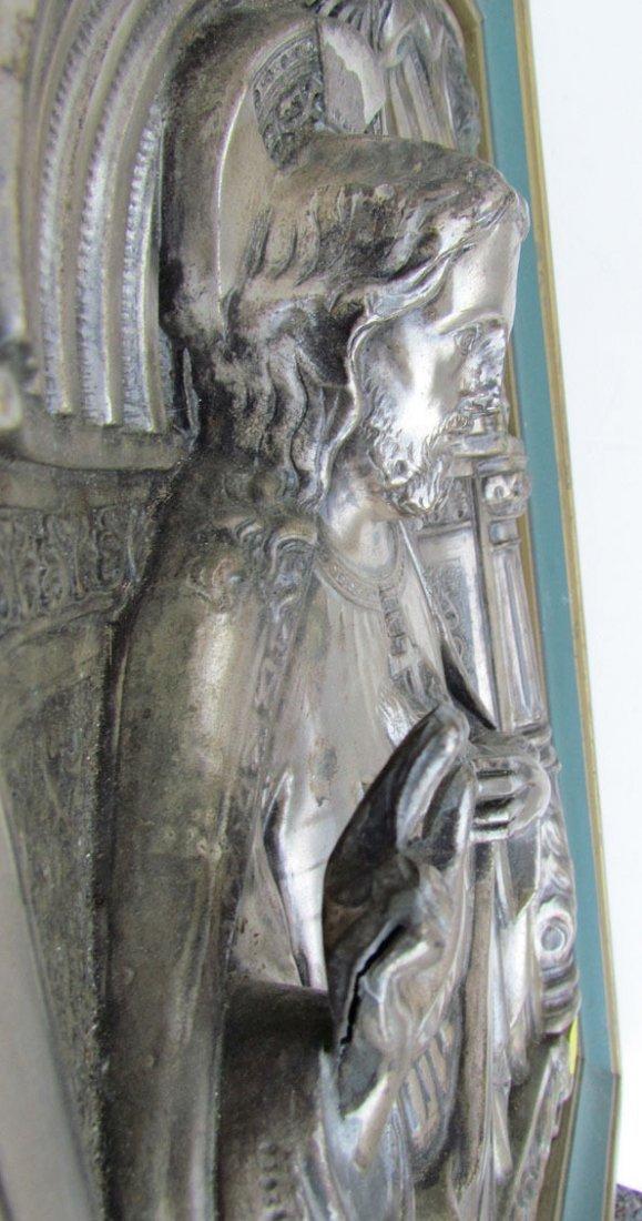 Antique Silver Plate Relief Plaque Icon of Jesus - 2
