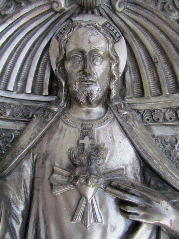 Antique Silver Plate Relief Plaque Icon of Jesus - 3