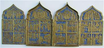 Russian Bronze Enamel Quadriptych Icon, 1800s