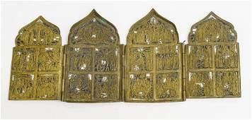 Cast Brass Russian Quadriptych Icon, 19th Century