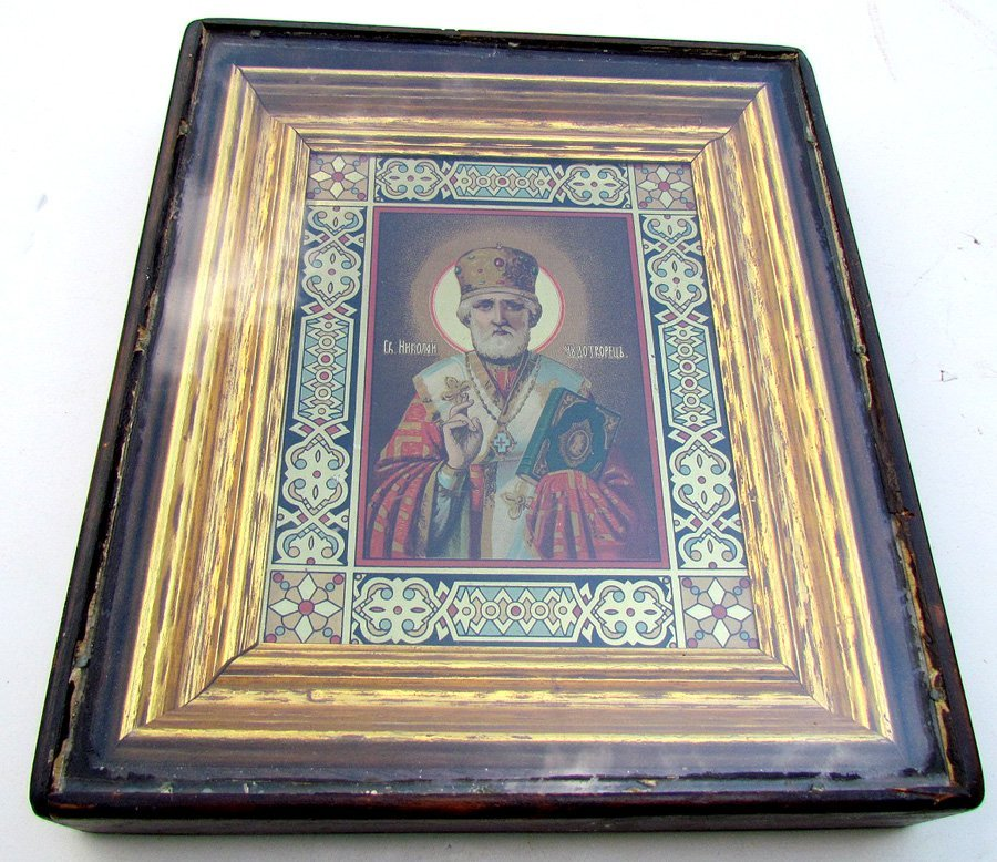 Saint Nicholas Russian Icon with Kiot Under Glass