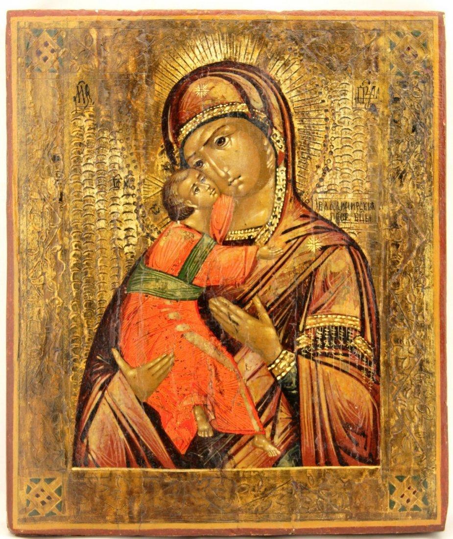 Our Lady Eleusa of Vladimir Russian Icon, 19th Century