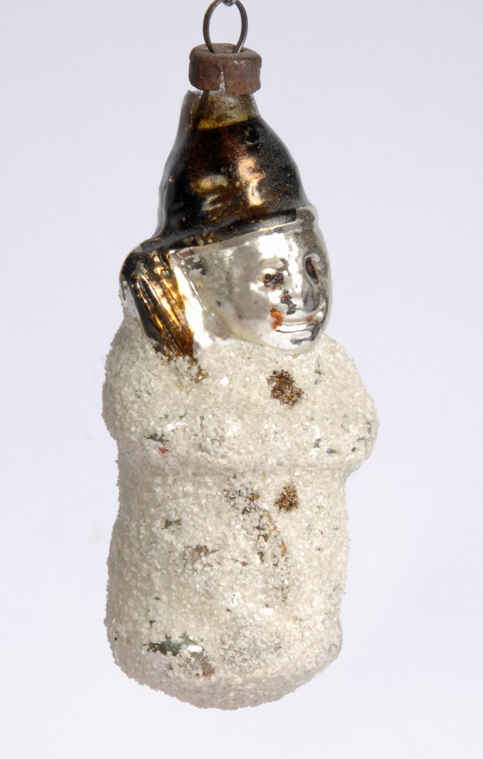 Snowman Hand Blown Glass Christmas Ornament, c 1930 - 2