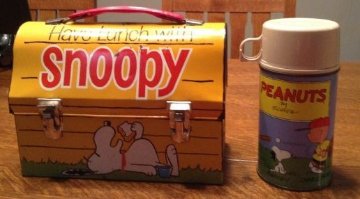 Snoopy Blue Cup Lunch Box with Thermos, 1968