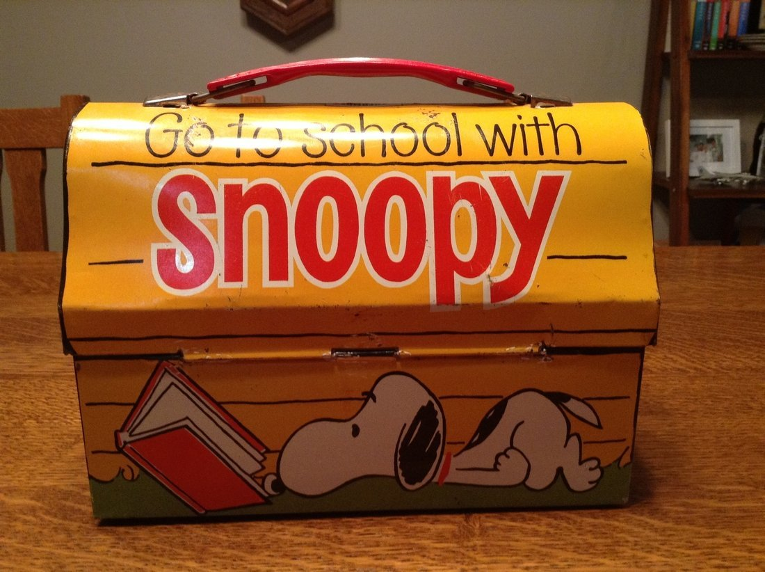 Snoopy Blue Cup Lunch Box with Thermos, 1968 - 2