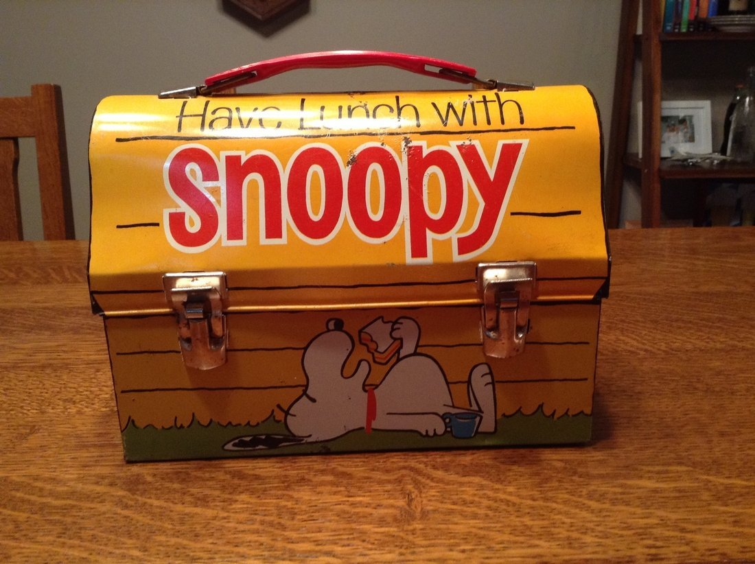 Snoopy Blue Cup Lunch Box with Thermos, 1968 - 3