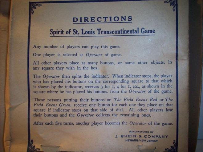 Spirit of St. Louis Transcontinental Spinner Game, 1925 - 5