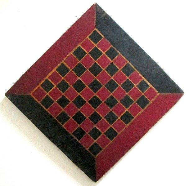 19th C Handmade Painted Checkerboard