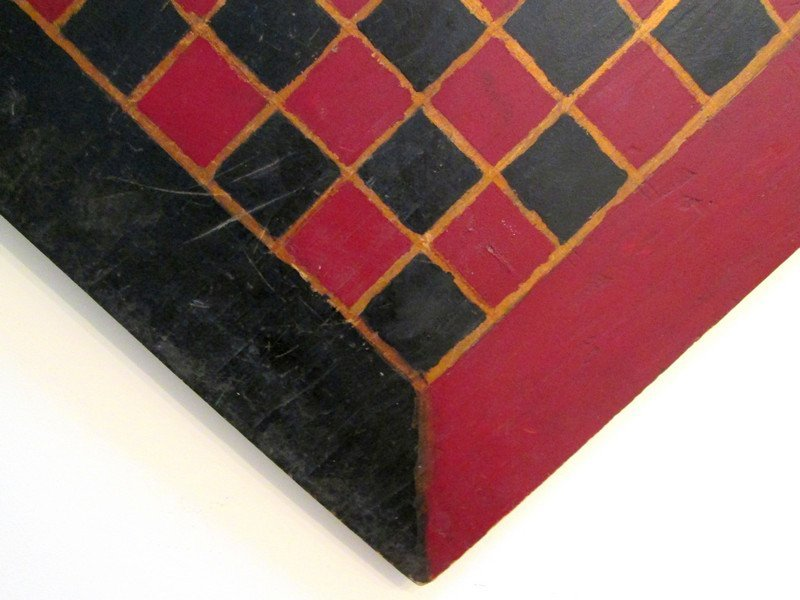 19th C Handmade Painted Checkerboard - 5