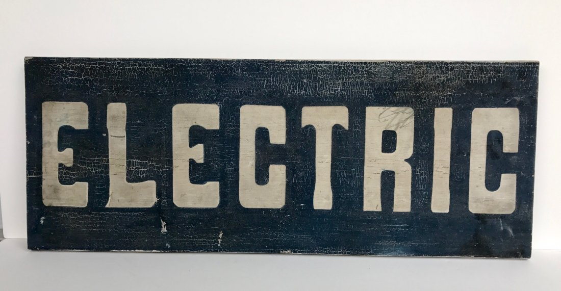 Electric Wood Sign, c 1920