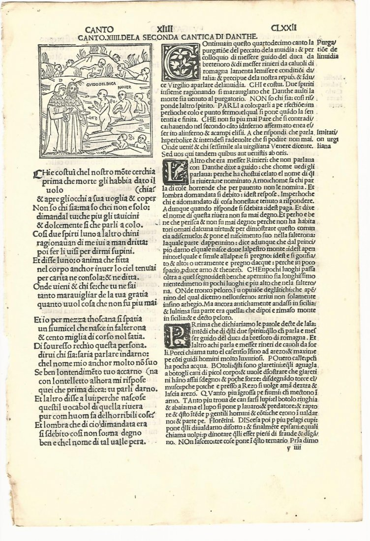 Dante Puragtorio Leaf with Woodcut, 1507