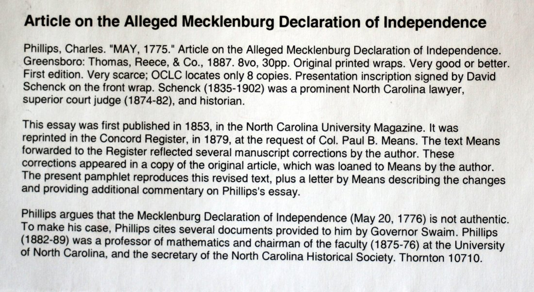 """May, 1775"" On Alleged Mecklenburg Declaration, 1887 - 3"