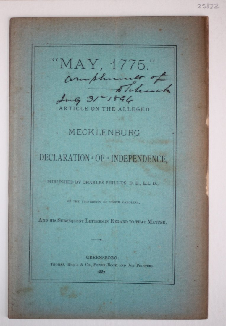 """May, 1775"" On Alleged Mecklenburg Declaration, 1887 - 4"