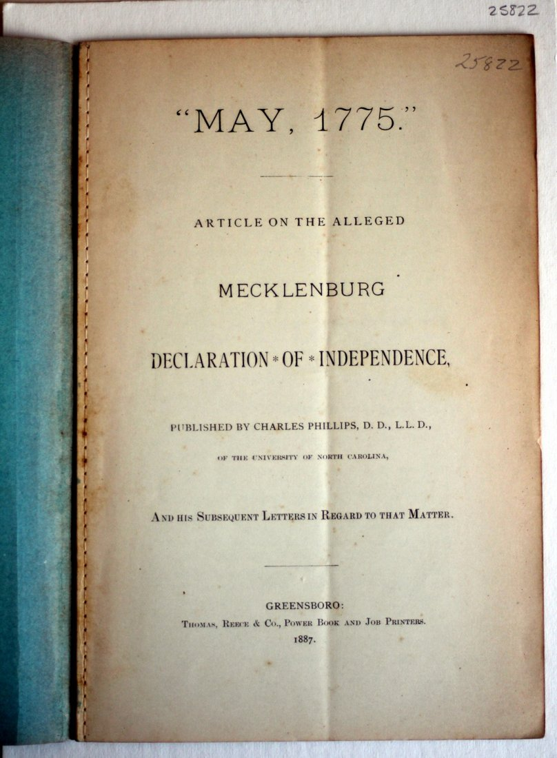"""May, 1775"" On Alleged Mecklenburg Declaration, 1887 - 5"