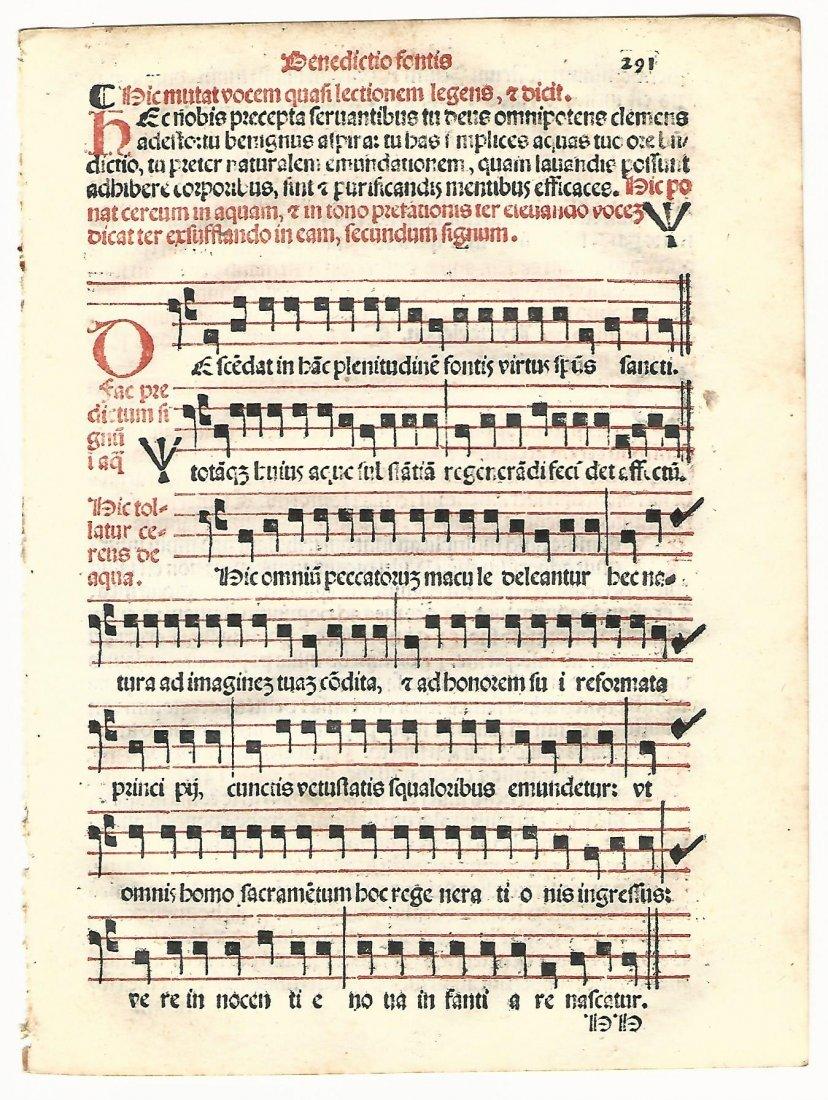 Catholic Hymnal Leaf with Red & Black Music, 1567