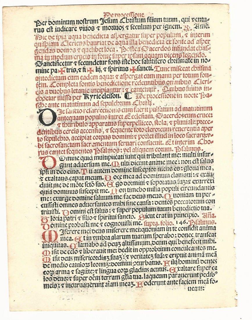 Catholic Hymnal Leaf with Red & Black Music, 1567 - 2
