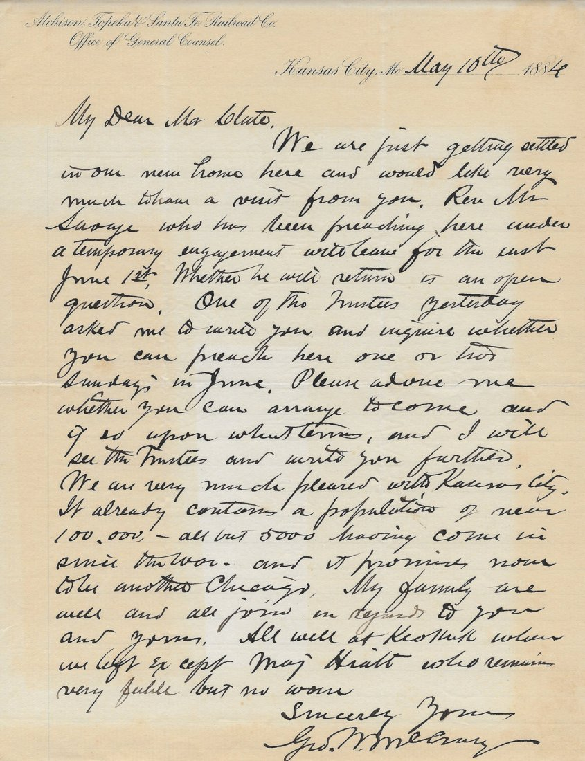 Secretary of War George McCrary Signed Letter, 1884
