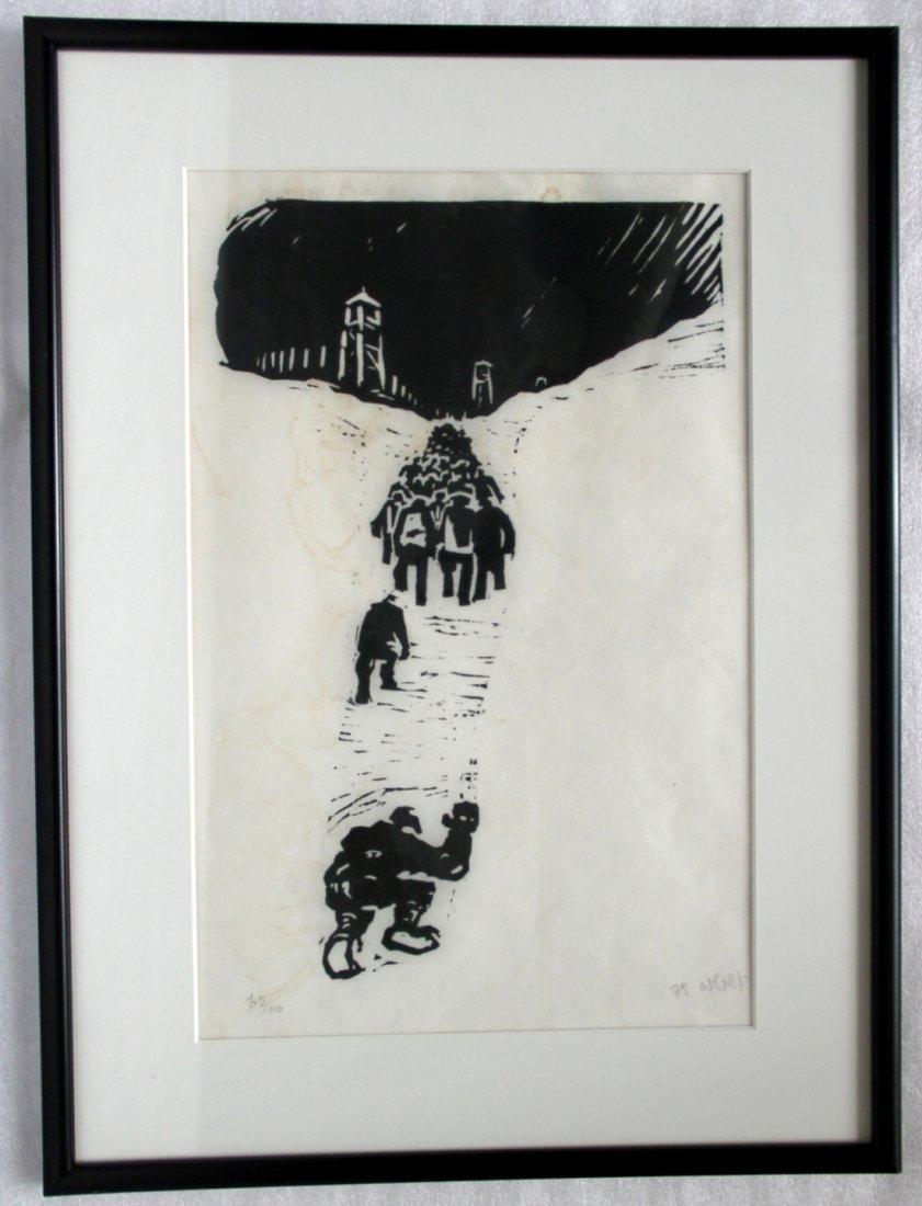 Russian Engraving: Soviet Gulag Prisoners, 1974, Signed