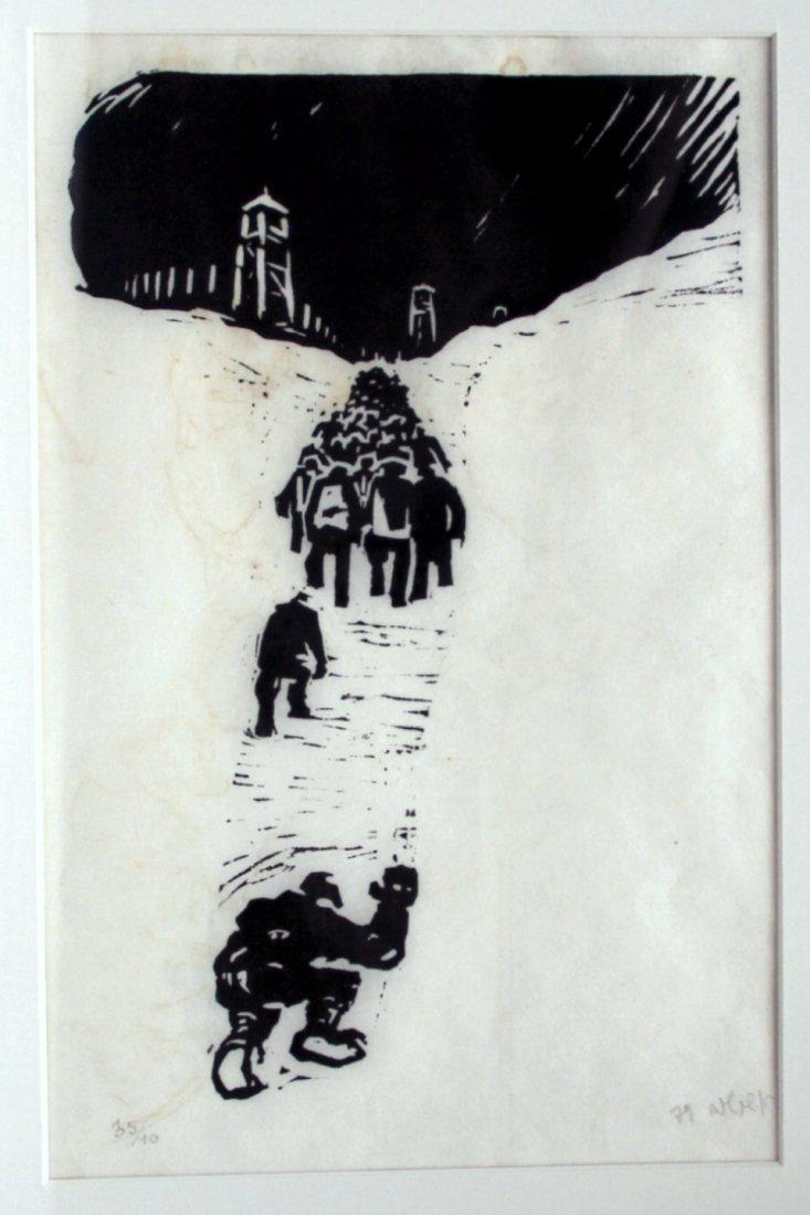 Russian Engraving: Soviet Gulag Prisoners, 1974, Signed - 2